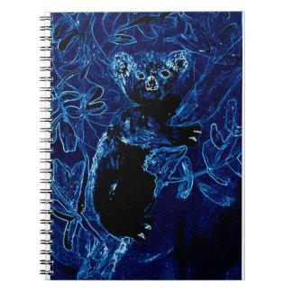 Arte azul del árbol de la koala libretas