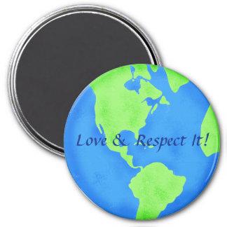 Arte azul del globo de la tierra verde del amor imán redondo 7 cm