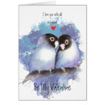 Arte azul del pájaro de los Lovebirds del amor de Tarjeta De Felicitación