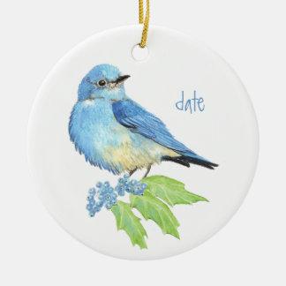 Arte azul del pájaro del Bluebird de la montaña de Adorno Redondo De Cerámica