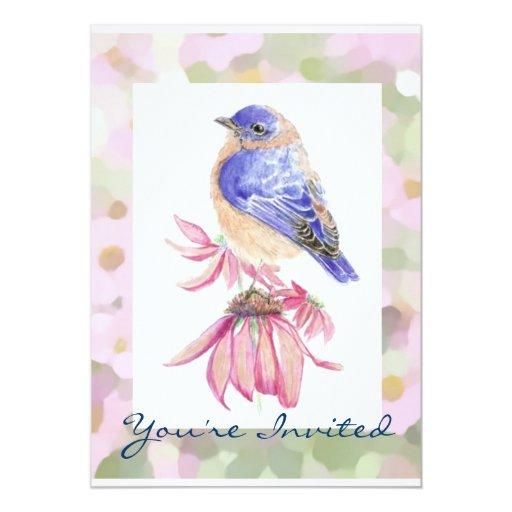 """Arte azul del pájaro del Bluebird del este de la Invitación 5"""" X 7"""""""