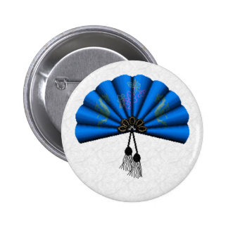 Arte azul del pixel de la fan del dragón pin redondo 5 cm
