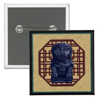 Arte azul del pixel del perro del león pin cuadrada 5 cm