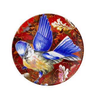 Arte azul grande del vintage del pájaro platos de cerámica