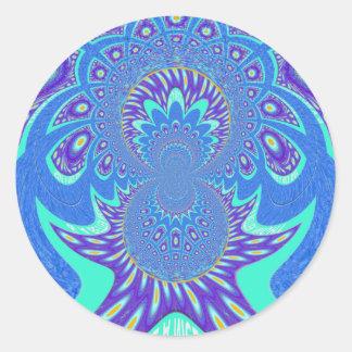 Arte azul moderno pegatina redonda