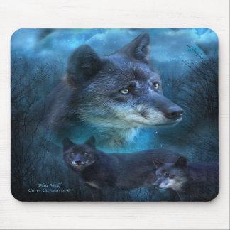 Arte azul Mousepad del lobo Tapetes De Ratones
