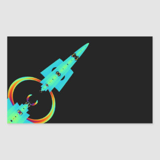 Arte azul Rocket del fractal Pegatina Rectangular