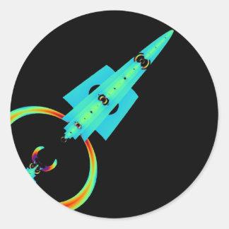 Arte azul Rocket del fractal Pegatina Redonda