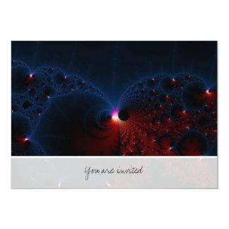 """Arte azul rojo del fractal de las células invitación 5"""" x 7"""""""