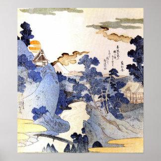 Arte azul Ukiyo-E de Japón Woodblock del vintage Impresiones
