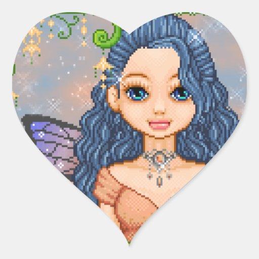 Arte azul y anaranjado del pixel del Faery Calcomanía Corazón Personalizadas