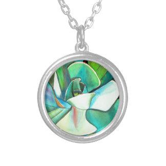 Arte azul y verde suculento del watercolour del joyerias