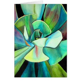 Arte azul y verde suculento del watercolour del tarjeta de felicitación