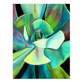 Arte azul y verde suculento del watercolour del postales