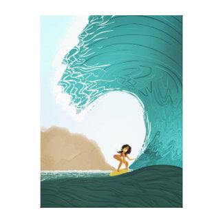 """Arte """"balanceo del océano del chica que practica impresiones en lona estiradas"""