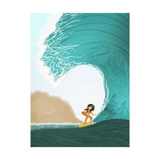 """Arte """"balanceo del océano del chica que practica lienzo envuelto para galerías"""
