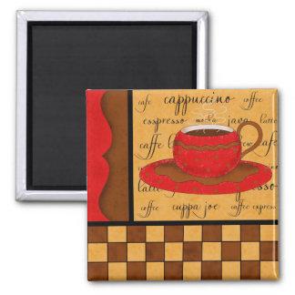 Arte banal de la taza de café del oro rojo marrón imán cuadrado