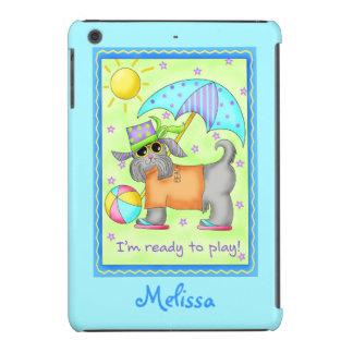 Arte banal del perro de la playa azulverde funda de iPad mini