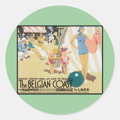 Arte belga del poster del viaje del vintage de la pegatina redonda