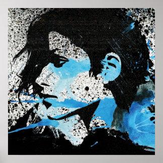Arte blanco abstracto de la acuarela del chica del póster