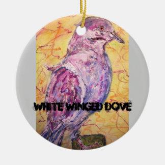 arte Blanco-con alas de la paloma Adorno Redondo De Cerámica
