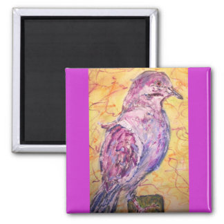 arte Blanco-con alas de la paloma Imán Cuadrado