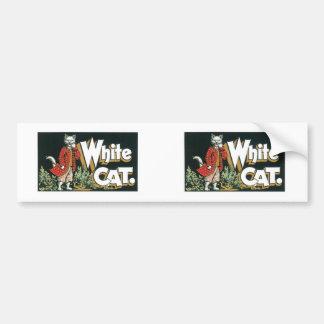 Arte blanco de la etiqueta del cigarro del gato de etiqueta de parachoque