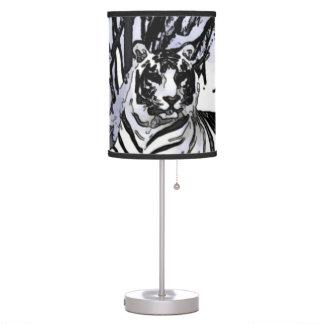 Arte blanco de la fauna de la acuarela del tigre lámpara de mesilla de noche