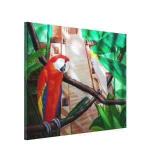 Arte blanco de la lona de los pájaros de la selva  impresión en lienzo estirada