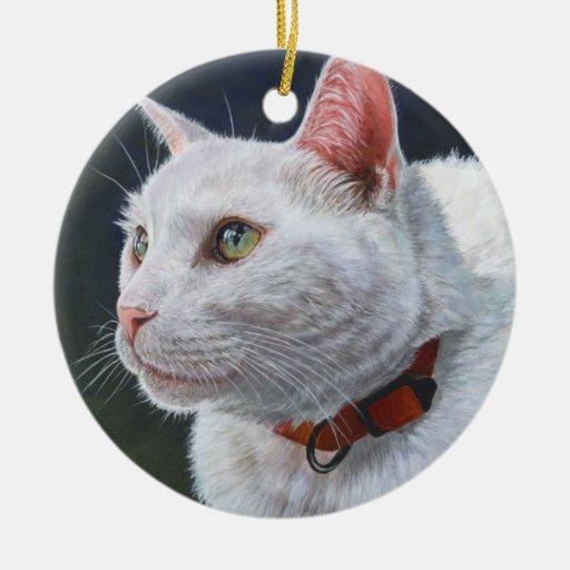 Arte blanco de la pintura de Shiro del gato por Adorno Navideño Redondo De Cerámica