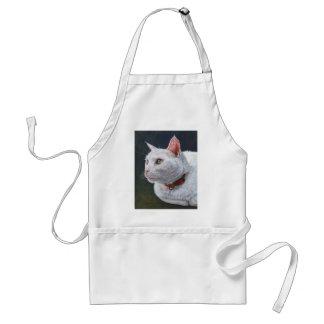 Arte blanco de la pintura de Shiro del gato por Ar Delantal