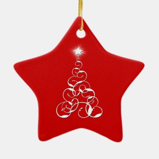 Arte blanco del árbol de navidad adorno de cerámica en forma de estrella