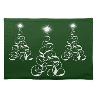 Arte blanco del árbol de navidad manteles