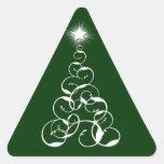 Arte blanco del árbol de navidad pegatina triangulo personalizadas