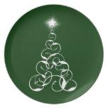 Arte blanco del árbol de navidad plato para fiesta
