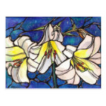 Arte blanco del diseño del vitral de las flores de postal