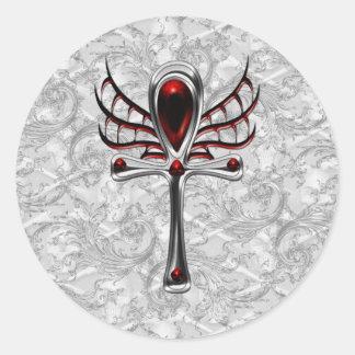 Arte blanco del gótico de Ankh del vampiro del Pegatina Redonda