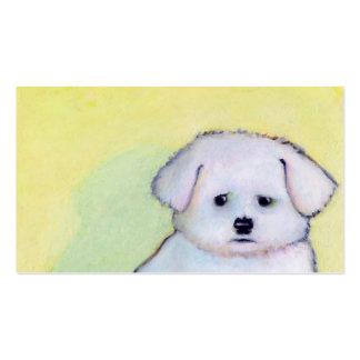 Arte blanco del perro que dibuja el pequeño perrit plantilla de tarjeta de negocio
