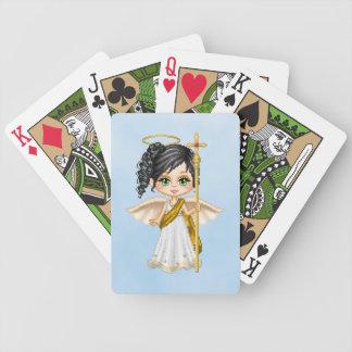 Arte blanco del pixel del ángel baraja cartas de poker