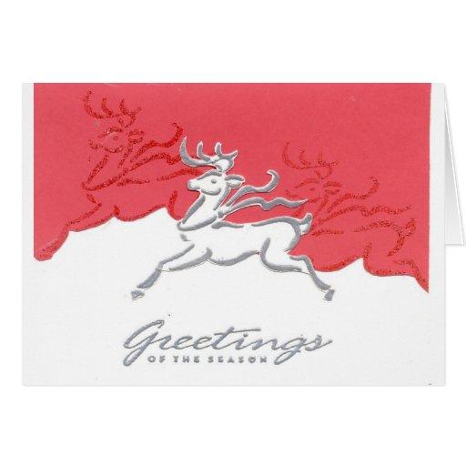 Arte blanco rojo del día de fiesta del reno de los tarjetón