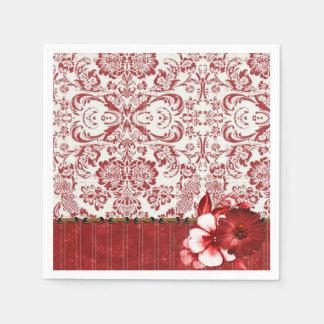 Arte blanco rojo del modelo del damasco servilletas desechables