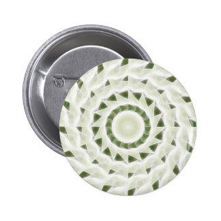 Arte blanco verde 11 del caleidoscopio pin redondo de 2 pulgadas