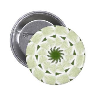 Arte blanco verde 2 del caleidoscopio pin redondo de 2 pulgadas