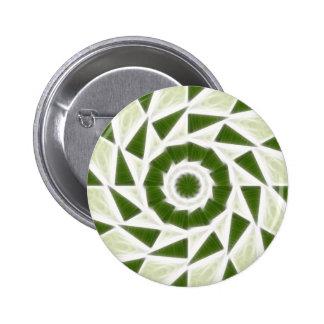 Arte blanco verde 3 del caleidoscopio pin redondo de 2 pulgadas