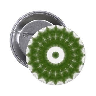 Arte blanco verde 7 del caleidoscopio pin redondo de 2 pulgadas