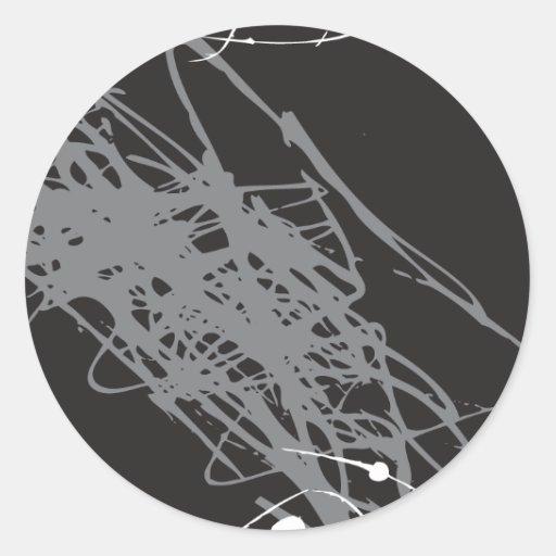 arte blanco y negro abstracto pegatina redonda