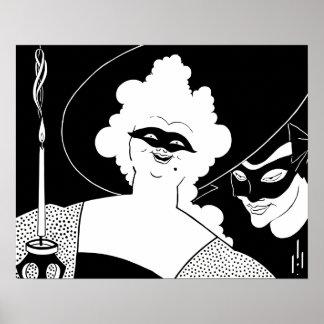 Arte blanco y negro: carnaval póster