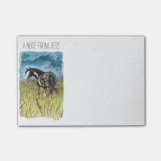 Arte blanco y negro de la acuarela del caballo de notas post-it®