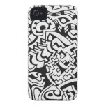 Arte blanco y negro de la calle de la pintada Case-Mate iPhone 4 fundas