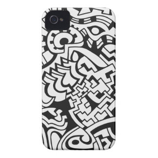 Arte blanco y negro de la calle de la pintada iPhone 4 cárcasa